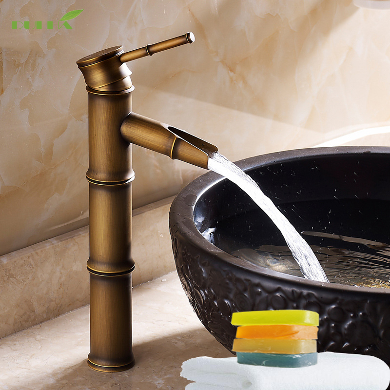 Luxury Waterfall Basin Faucets Bathroom Sink Faucet Kitchen Wash Vessel Mixer Taps Antique Bronze Brass Copper Free shipping