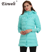 Beads 2017 Winter Warm Coats Women Big Size Women Down Jackets Thicken Cotton Padded Parkas Outerwear & Coats Sleeve Knitted