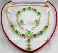 New Mis! Free Shipping 6X8MM Pearl Dark green Jades Necklace Bracelet Earring Jewelry Set>>> Free shipping
