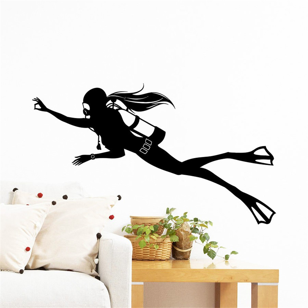 Wall Adhesives Stickers Extreme Sports Diving Scuba Diver ...