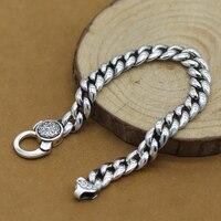 100% 925 Silver Tibetan OM Mantra Bracelet Buddhist OM Words Bracelet Pure Silver Tibetan Man Bracelet