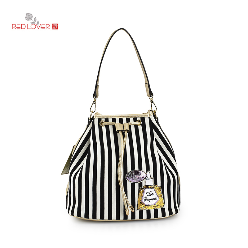 ФОТО Red Lover Lady Buckets soft cloth shoulder bags women's handbag Drawstring striped Totes Korean style Feminina