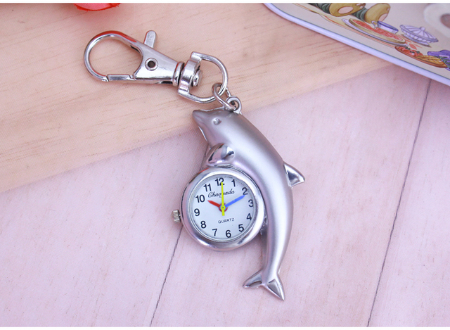 chaoyada 2018 Watches with Chain Women Men Pocket Watch whale Dolphin Style Quartz Keychain kids Watch