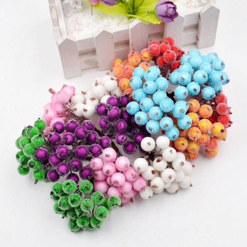 40 голов искусственные фрукты стеклянные ягоды Stamen дешевые поддельные цветы для свадьбы украшения дома DIY ВЕНОК Скрапбукинг искусственный цветок