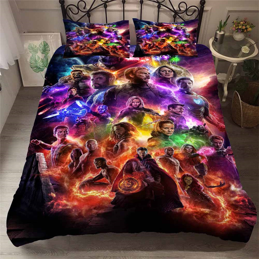 HELENGILI 3D Bedding Set The Avengers Print Duvet Cover Set Bedcloth with Pillowcase Bed Set Home Textiles #FILM 06