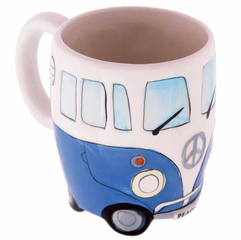 HSU 2019 gorąca sprzedaż puchar kreatywny ręcznie malowanie podwójne autobusy kubki Retro kubek ceramiczny kawa herbata mleczna 400ml vasos de acero inoxidable