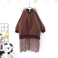 Winter Girl Flower Lace Long Dress Full Sleeve Patchwork Dresses Children Casual Thick Warm Clothing Cotton