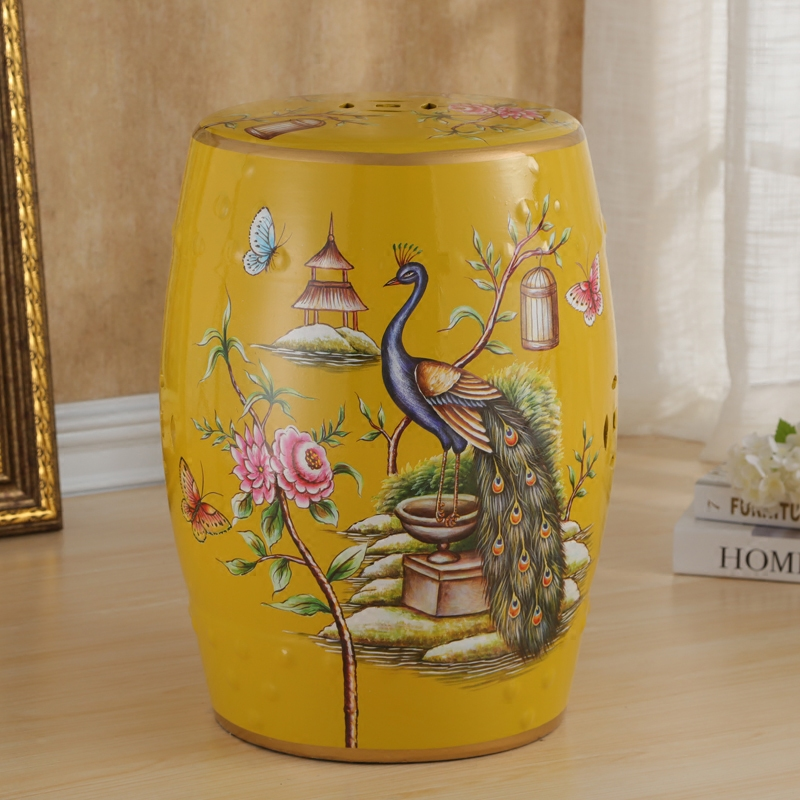 Fashion ceramic rustic drum stool new chinese style change a shoe stool decoration peacock цена и фото