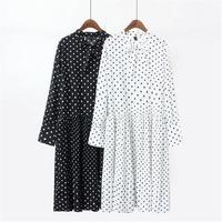 Plus size Long sleeves dresses women 2018 spring bow casual dot white & black chiffon ladies dress slim waist vestidos female