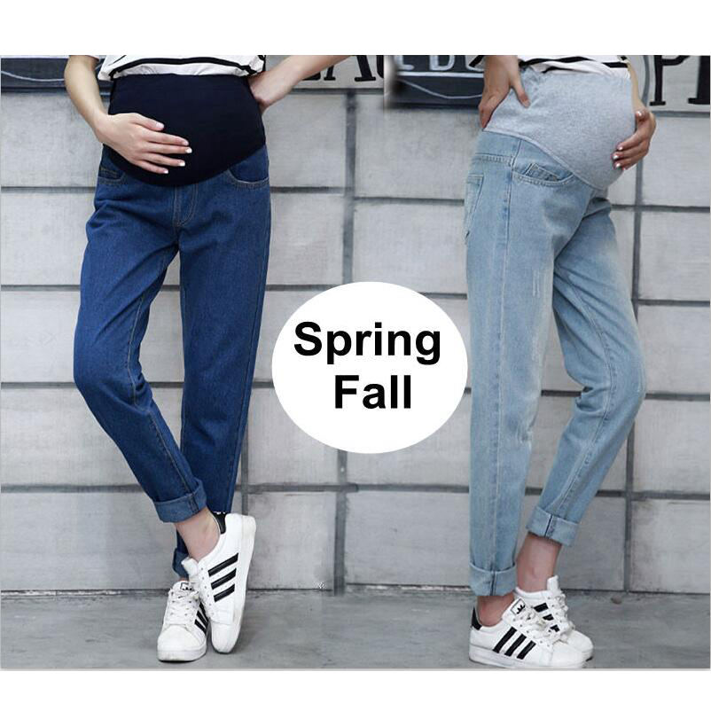 Spring Maternity Jeans For Pregnant Woman 2019 Pregnancy Denim Pants Cotton Single Layer Trousers maternity clothing Plus Size