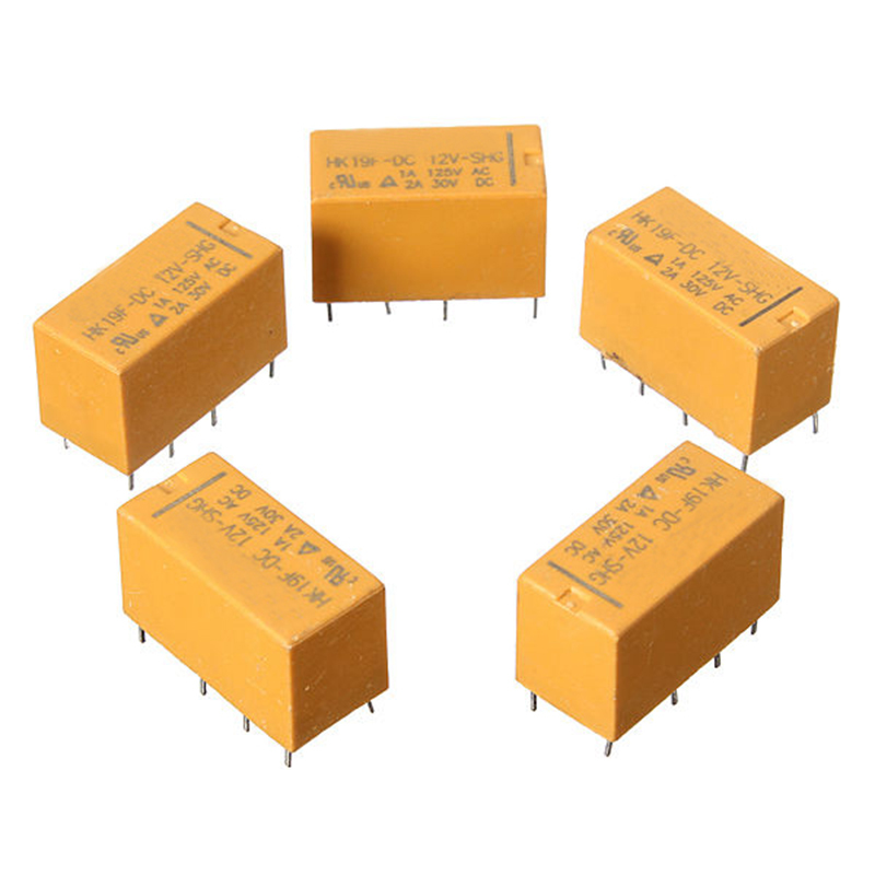 цена на CNIM Hot 5 Pcs DC12V SHG Coil DPDT 8 Pin 2NO 2NC Mini Power Relays PCB Type HK19F Yellow