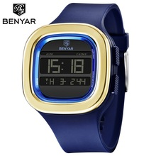 Benyar Square Digital Watch Men Sports Watch Waterproof Outdoor Electr