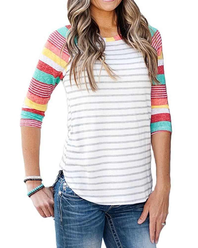 Hitmebox 2019 חדש אופנה סתיו נשים של Colorblock 3/4 קרוע שרוול צבעוני פסים חולצות גבירותיי צוות צוואר אסימטרית Tshirts