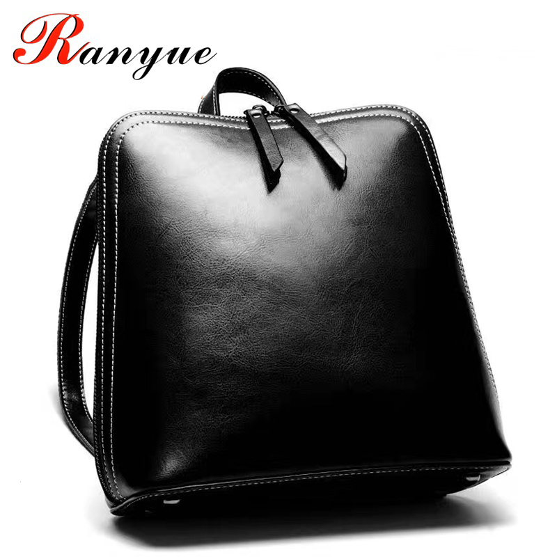 RANYUE Famous Brand Women Backpack Vintage Genuine Leather Double Shoulder Bag Women Leisure Solid Color Satchel Girl Backpack 2017 fashion women waterproof oxford backpack famous designers brand shoulder bag leisure backpack for girl and college student