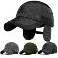 Hombres gorra de béisbol de invierno de la marca de lujo caliente snapback negro oído solapa hueso Gorra de béisbol Hombres Sombreros Orejeras Masculinos Ocasionales sombrero
