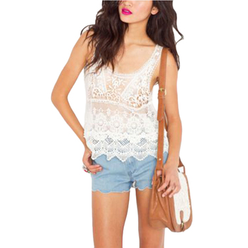 Hot Fashion Summer Women Girls Hippie Boho Vintage Crochet Lace Floral Printed Sexy Vest Tank Tops T-Shirt Casual Clothes