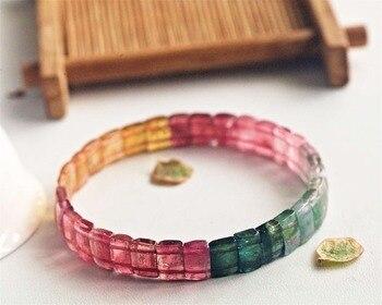Genuine Natural Rainbow Colorful Tourmaline Clear Rare Bracelet Rectangle Beads 8mm Crystal Brazil Bangle AAAAAA Certificate