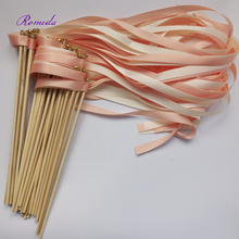 Hot selling 50pcs/lot coral and champagne wedding ribbon wands with gold bell  ribbon Twirling Streamers wedding ribbon stick