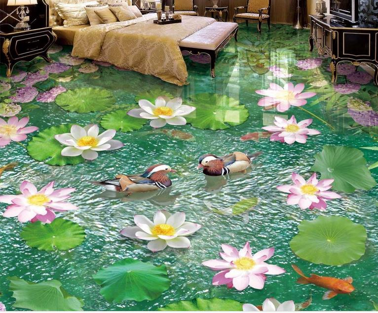 custom 3d floor Lotus pond flowers wallpaper self adhesive 3d flooring wall papers home decor living room 3d floors free shipping 3d carp lotus pond lotus flooring painting tea house study self adhesive floor wallpaper mural