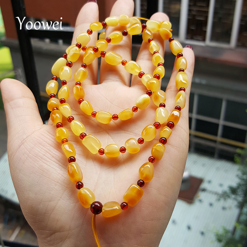 Yoowei 60cm Natural Baltic Amber Necklace 6mm Unique Amber Bead Hang Rope Sweater Chain Necklace Natural Beeswax for Unisex fashionable women s bead designed ellipse sweater chain necklace
