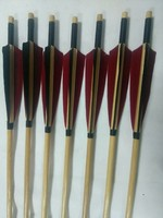 12 Linkboy Archery Poure Carbon Arrow W Bamboo Skin 32 SP500 Orange Feather Point Insert Complete