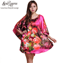 sparogerss  style 2017 faux silk women nightgown home clothing lady sleepshirt floral print  sleep lounge 10225