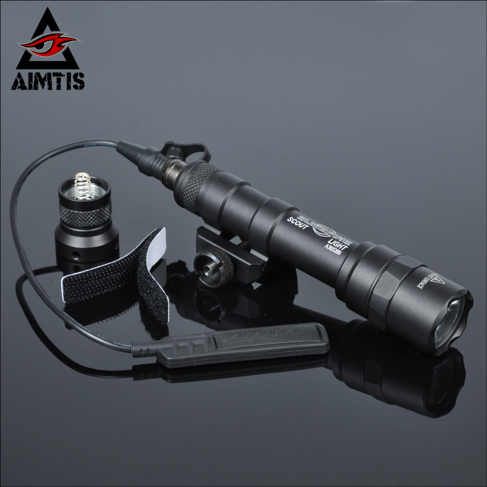 AIMTIS M600B Scout Light Tactical LED Mini Flashlight 20mm Picatinny Hunting Keymod Rail Mount Weapon light for Outdoor Sports greenbase tactical m300 m300b mini scout light outdoor rifle hunting flashlight 400 lumen weapon light led lanterna