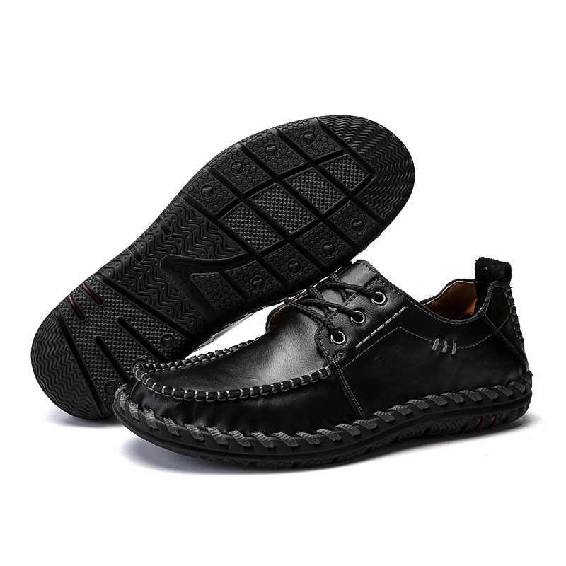 VANCAT 2018 yeni erkek mokasen ayakkabıları lüks marka erkek ayakkabısı moda Casual erkek ayakkabı dantel erkekler deri ayakkabı tasarımcısı deri düz ayakkabı