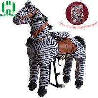 Механические верхом на лошади на игрушки животных для От 7 до 14 лет для детей и взрослых прогулки Зебра пони игрушки едет лошадь скутер детск