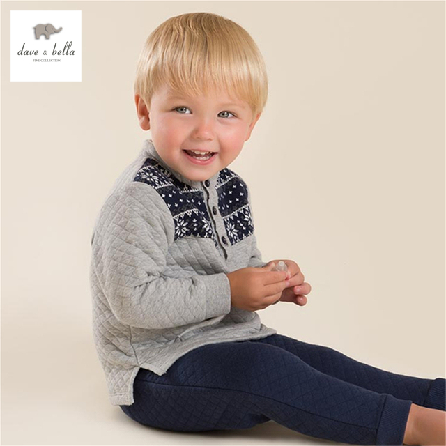 DB3906 dave bella autumn baby boys grey navy snowflake jacquard clothing set