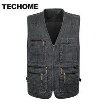 2016 Summer casual men vest sleeveless jacket Male Plus Size Vest Men Multi Pocket vest men