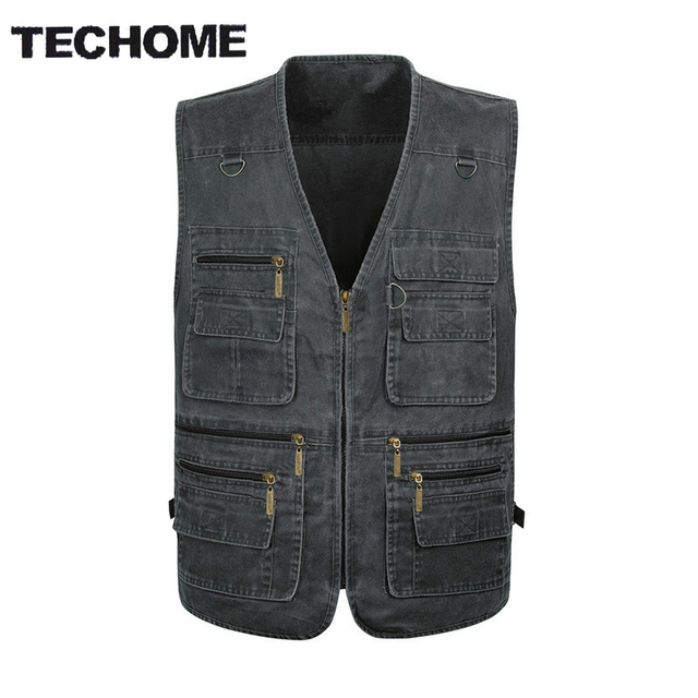 2016 Summer casual men vest sleeveless jacket Male Plus Size Vest Men Multi Pocket  vest men deporte photography vest XL-5XL