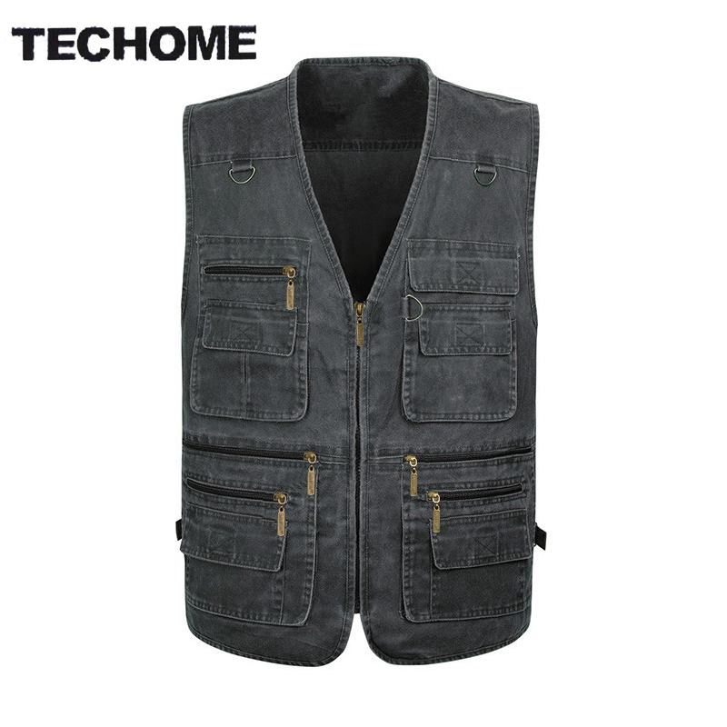 2016 Summer casual men vest sleeveless jacket Male Plus Size Vest Men Multi Pocket vest men deporte photography vest XL-5XL
