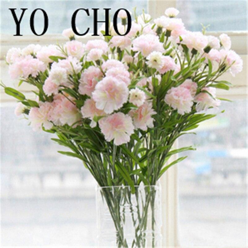 3 piecelot 6 flower heads big silk carnation artificial flower real touch carnation bouquet wedding party home decor