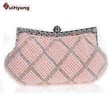 Neue Ankunft Frauen Club Party Perle Handtasche Mode DIY Handgefertigten Glasperlen Diamant Plaid Tag Kupplung Geldbörse Damen Abendtasche Bolsas