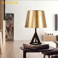 Nordic черный штатив из металла настольная лампа для Спальня прикроватный свет офис исследование золото настольная лампа