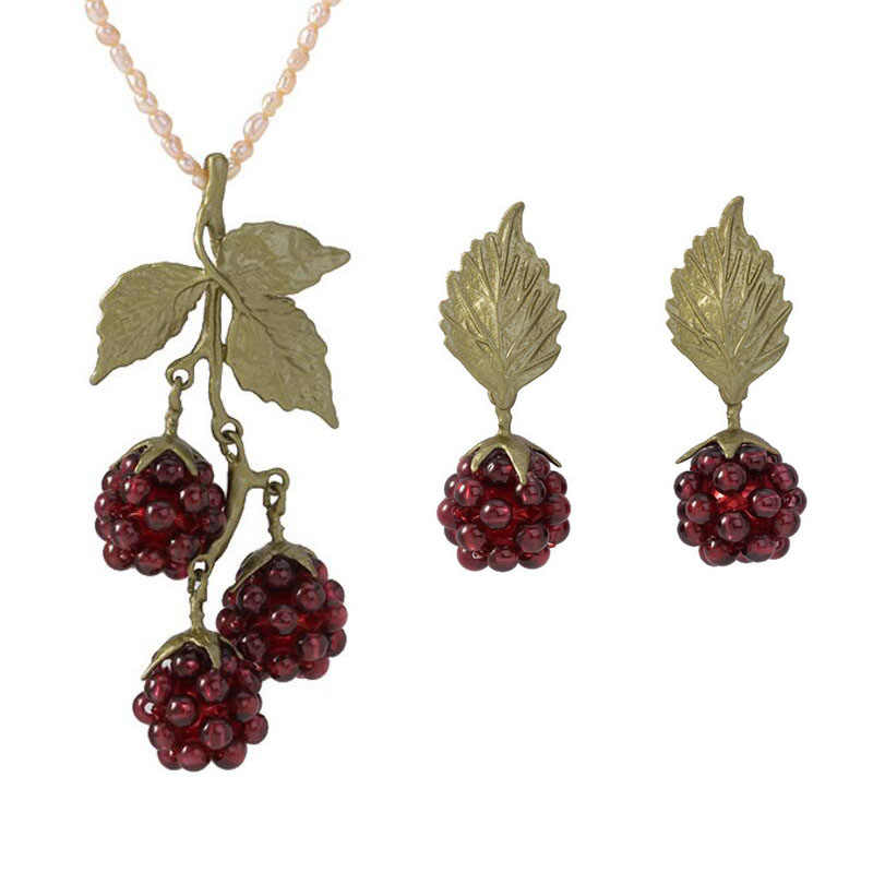 CSxjd Genuine bronze material Natural Garnet Raspberry Womens Vintage Necklace Earring and Jewelry