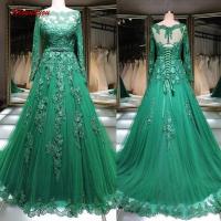 Emerald Green Long Sleeve Evening Dresses Party Lace Off Shoulder Sequin Plus Size Women Ladies Formal Dresses Evening Gown