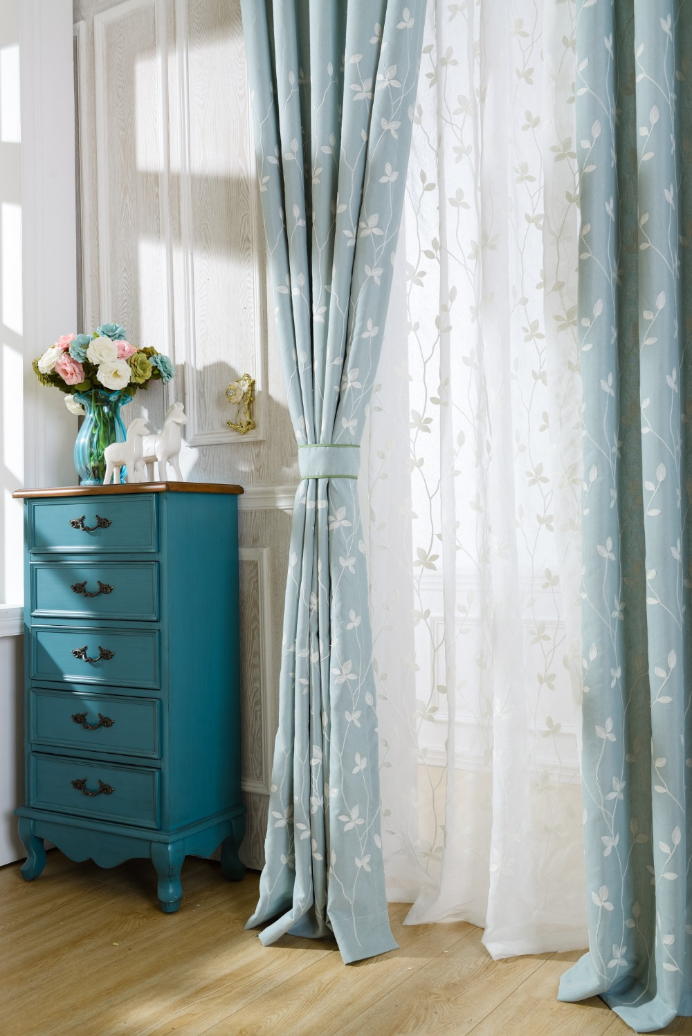 Us 10 79 45 Off Slow Soul Cotton Embroidered Curtains Light Blue White Leaves Window Sheer Drapes Living Room Leafs Pastoral Curtain Tulle In