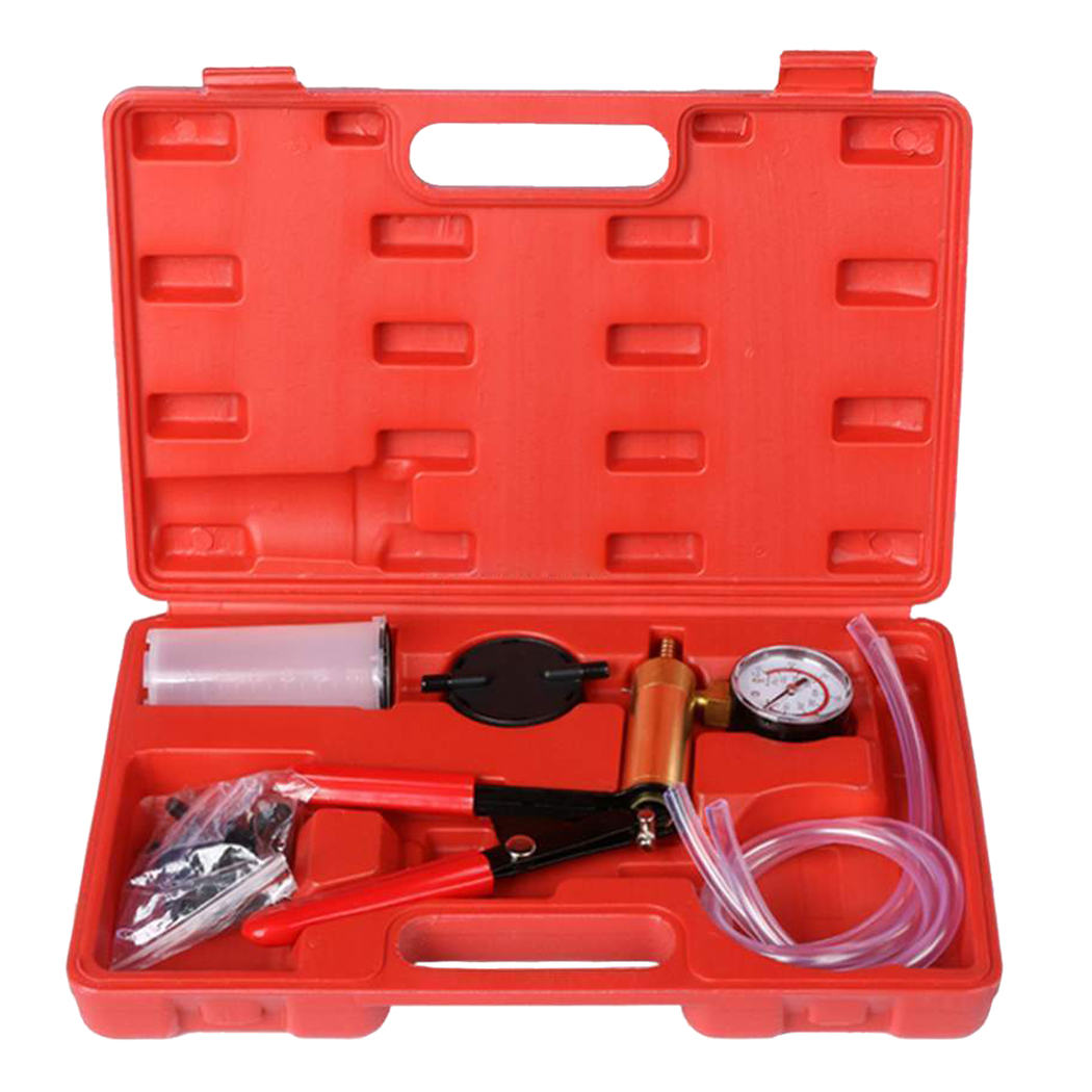 2 In 1 Brake Fluid Bleeder Hand Held Universal Cup Adaptor Manual Vacuum Pump Tool Kit Box Straight Hose T Hose Connector For Ve