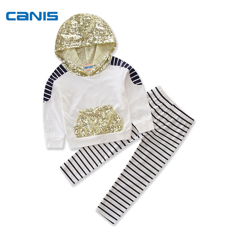 Newborn Infant Toddler Kids Baby Girl Long Sleeve Sequin Hooded T Shirt Top+ Striped Pants Outfit 2pcs Autumn Set Clothes 2-7T 3pcs newborn infant baby girl thanksgiving clothes set playsuit romper short pants bowknot outfit set