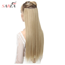 """SARLA 24"""" 60cm 200Pcs/lot Long Straight Clip In Hair Extensions For Women Resistant High Temperature Synthetic Hairpieces 666"""