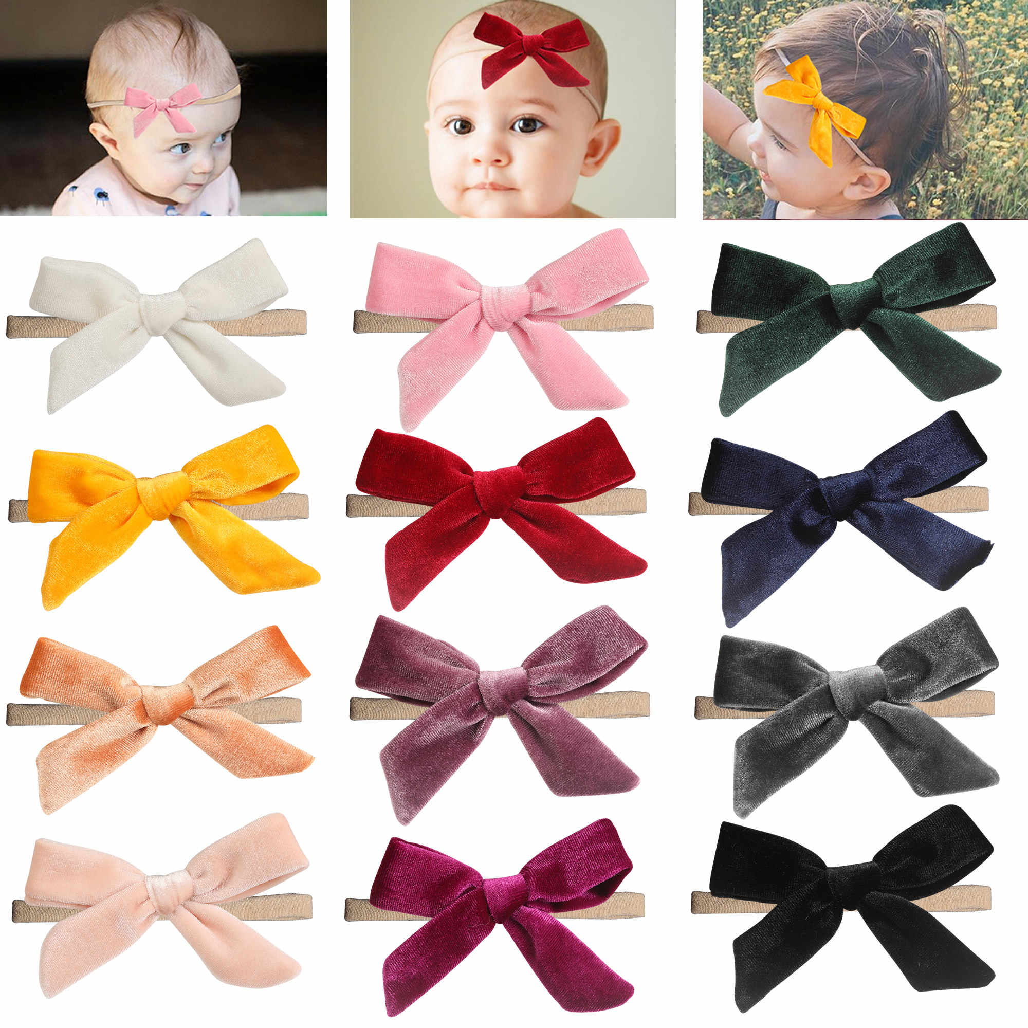 inSowni 2019 New 1pc Super Stretchy Nylon Solid Velvet Bow Headbands Hairbands Hair Accessories Ties for Baby Girls Toddlers Kid