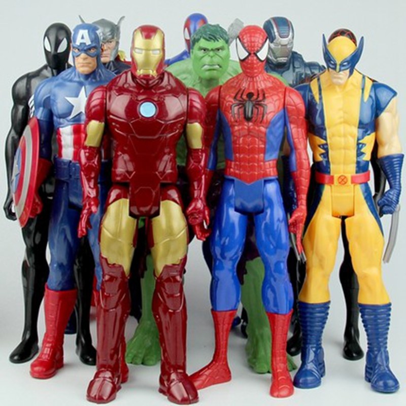 30cm Avengers; Wolverine Logan Thor Hulk Ultron Iron Man Captain America Spider-Man Robot Action Figures Doll Toy For Kids Gift 6pcs set the action figures batman spider man iron man hulk thor captain america action toy figures boys girls toy