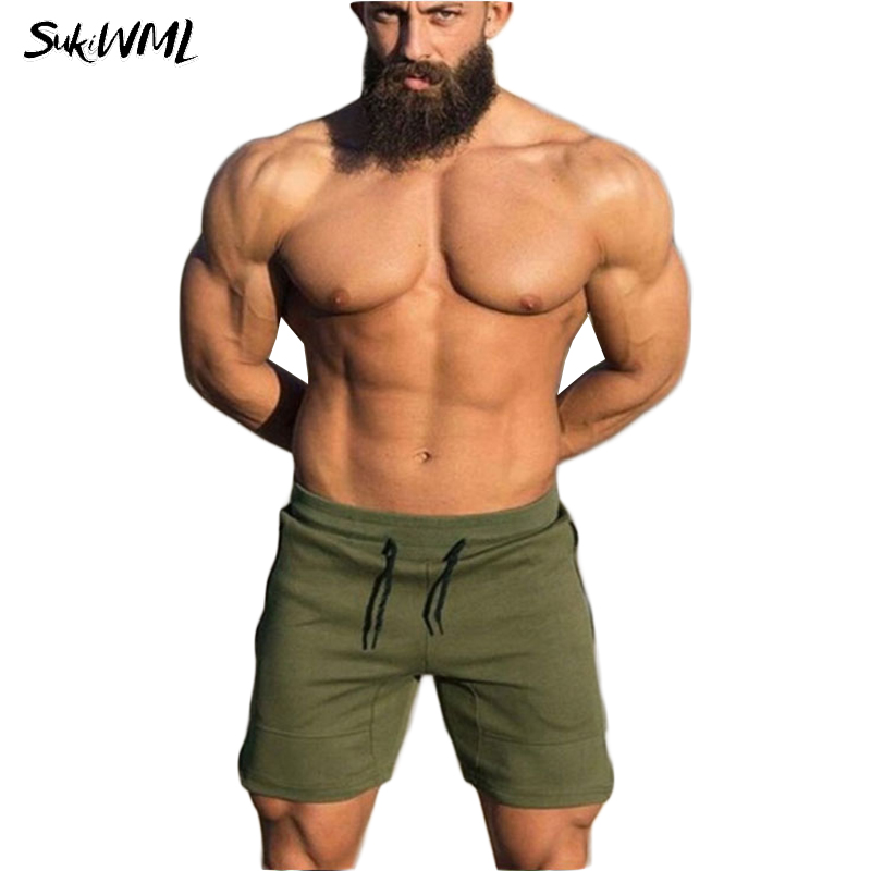SUKIWML Summer Mens Shorts 2018 Cotton Cargo Shorts Men Fitness Bodybuilding Workout Short Pants Casual Pantalon Corto Hombre
