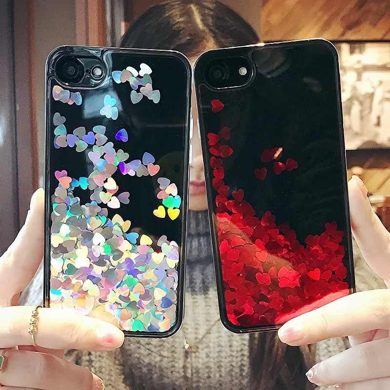 Luxury Black Dynamic Glitter Love Liquid Case for iPhone 5 5S SE 6 6S 7 8 Plus Soft Phone Cases for iPhone X XR XS Max Cover