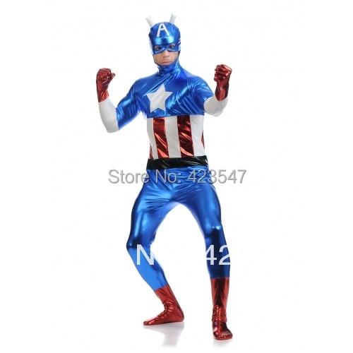 Biru & merah & putih logam Kostum Avengers Kapten Amerika kostum - Kostum karnival - Foto 3