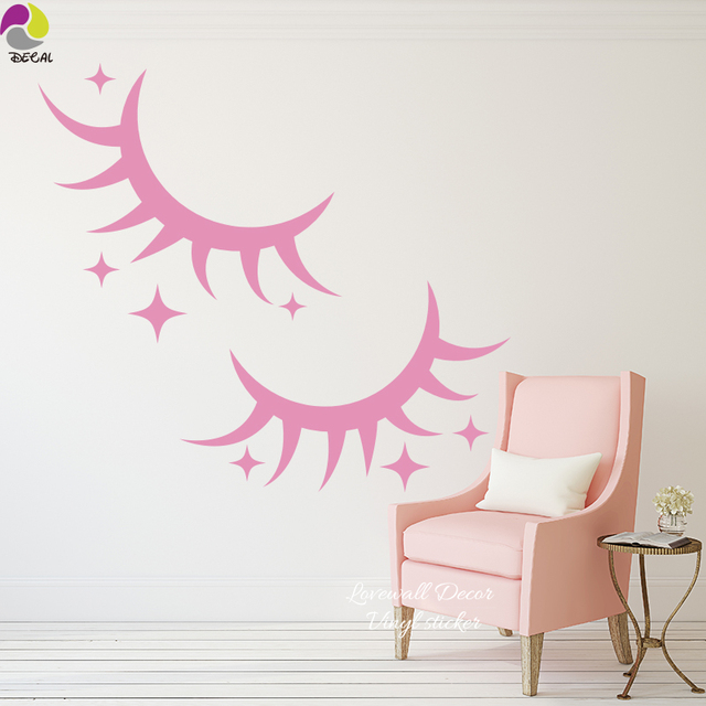 Cute Eyelash Star Wall Sticker Baby Nursery Lovely Cilia ...