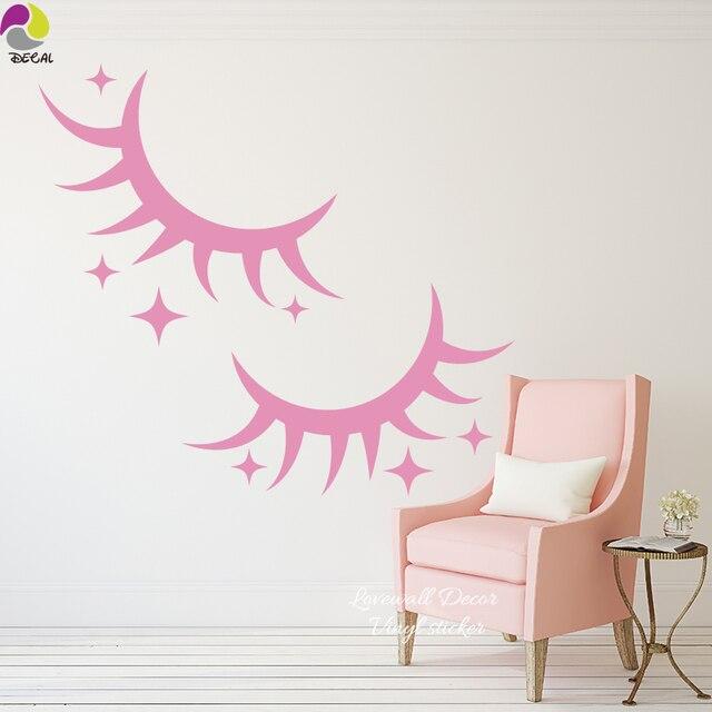 Cute Eyelash Star Wall Sticker Baby Nursery Lovely Cilia ...