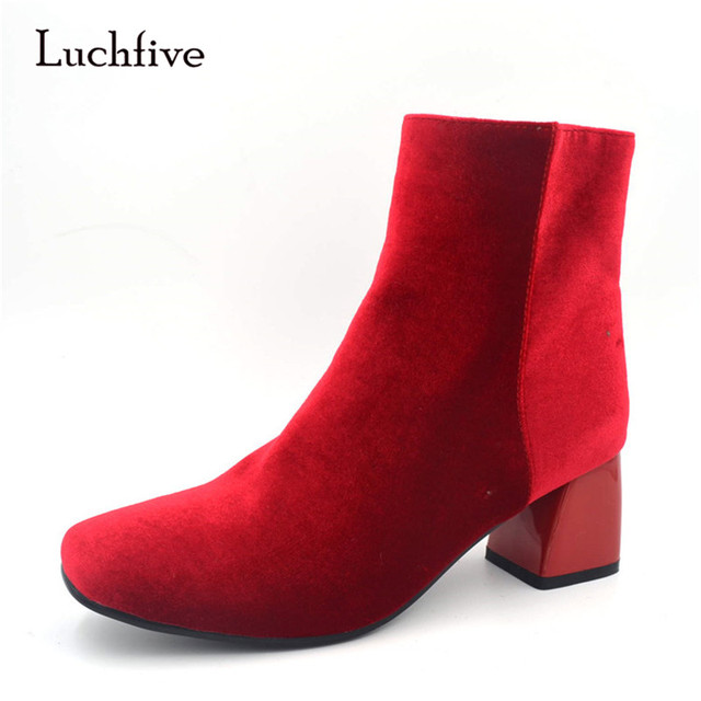 Luchfive New Autumn Short Booties For Women British Style Chunky Heel Side Zipper Flock Ankle Boots Woman